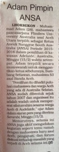 Press Release ANSA di Serambi Indonesia 16/2/15